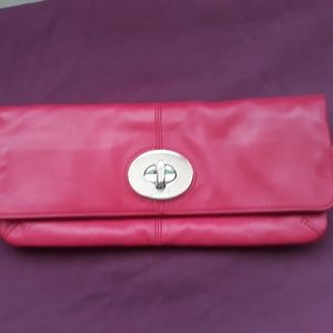 Rare!  Hot Pink Coach Clutch with Turn Lock
